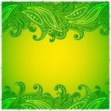Dekorativa härliga gröna paisley inramar Arkivfoton