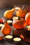 Dekorativa halloween pumpor och stearinljus Arkivbild