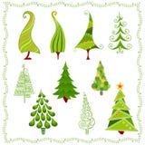Dekorativa julgranar i olika stilar stock illustrationer