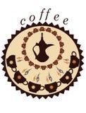 Dekorativa kaffekruka och koppar Arkivbild