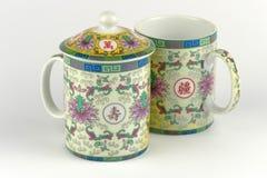 Dekorativa kinesiska tekoppar Royaltyfria Bilder