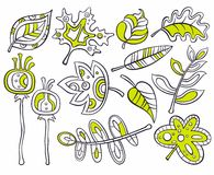 dekorativa leaves royaltyfri illustrationer