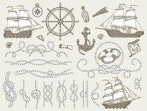 Dekorativa marin- beståndsdelar Havsrepramar, segelbåt eller nautic hörn för hjul för styrning för skepp nautiska repoch stock illustrationer