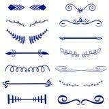 Dekorativa monogram för blå vektor och calligraphic gränser Mallsignage, logo, etikett, klistermärke Klassiskt designbeståndsdelb stock illustrationer