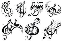 Dekorativa musikanmärkningar stock illustrationer