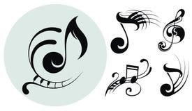 Dekorativa musikanmärkningar vektor illustrationer