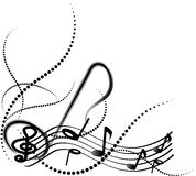 Dekorativa musikanmärkningar med virvlar på vit bakgrund vektor illustrationer