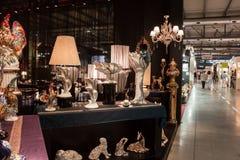 Dekorativa objekt på det Macef hemmet visar i Milan Royaltyfria Foton