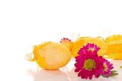 Dekorativa påskägg med blommor Royaltyfri Fotografi