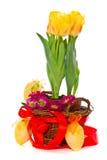 Dekorativa påskägg med blommor Royaltyfria Foton