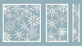 Dekorativa paneler med snöflingamodellen Laser klippte dekorativt snör åt gränsmodeller Uppsättning av bokmärkemallar Avbilda pas vektor illustrationer