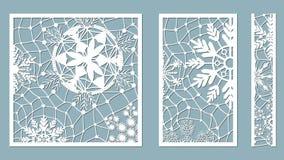 Dekorativa paneler med snöflingamodellen Laser klippte dekorativt snör åt gränsmodeller Uppsättning av bokmärkemallar Avbilda pas stock illustrationer