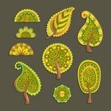 Dekorativa plana stilvektorträd royaltyfri illustrationer