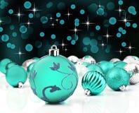 dekorativa prydnadar för blå jul Royaltyfri Foto