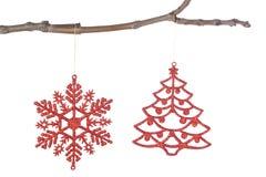 Dekorativa prydnadar för julgranen. Royaltyfria Bilder