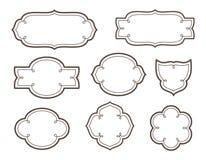 Dekorativa ramar för vektor för logoer och namn Royaltyfri Illustrationer