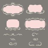 Dekorativa ramar och prydnader. stock illustrationer