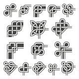 Dekorativa ramhörn i celtic garnering för stilvektorvinkel ställde in stock illustrationer