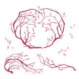 Dekorativa rosa färgfilialer Arkivbild