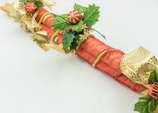 Dekorativa rottingstammar för jul arkivbild