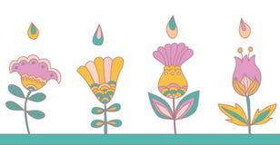 Dekorativa sömlösa blom- beståndsdelar Arkivbilder