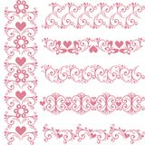Dekorativa sömlösa rosa färggränser Vektoruppsättning med den blom- beståndsdelen stock illustrationer