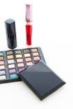 Dekorativa skönhetsmedel för grupp för makeup. Stilleben Arkivbilder