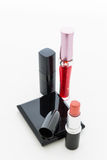Dekorativa skönhetsmedel för grupp för makeup. Stilleben Royaltyfri Fotografi