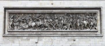 Dekorativa skulpturer på båge av Triumph Arkivbilder