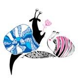 Dekorativa sniglar som är förälskade för din design Vektor Illustrationer