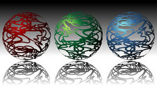 dekorativa spheres vektor illustrationer