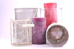 Dekorativa stearinljus olika färger Royaltyfria Bilder
