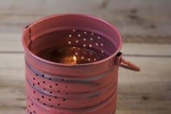 Dekorativa Tin Can Lantern Fotografering för Bildbyråer