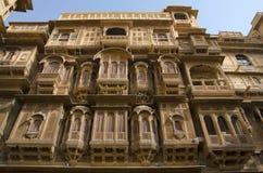 Dekorative äußere Ansicht von Patwon Ki Haveli, Jaisalmer, Rajasthan, Indien stockfotografie