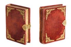 Dekorative alte Bibel von 1876 mit Samtabdeckung. Stockfotografie