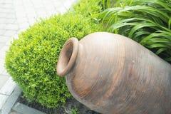 Dekorative altgriechische Amphore liegen im Garten im Sommer als Dekoration stockbilder