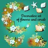 Dekorative Artikel gemacht von den Korallen und von den Farben stock abbildung