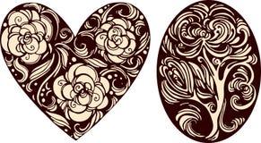 Dekorative Bilder des Ovals und des Herzens Lizenzfreies Stockbild