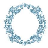 Dekorative blaue mit Blumenfarbe des runden Rahmens Stockfotografie