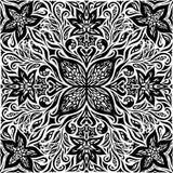 Dekorative Blumen in Schwarzem u. im Weiß, grafisches Mandaladesign der dekorativen aufwändigen Hintergrundmit blumentätowierung lizenzfreie abbildung