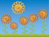 Dekorative Blumen unter der hellen Sonne Stockfotografie
