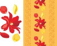 Dekorative Blumengrenze mit Tulpen und den rosafarbenen Blumenblättern Stockbilder