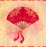 Dekorative chinesische Landschaft auf einem schönen Fan Stockfotos