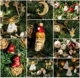Dekorative Detailcollage des Weihnachtsbaums Stockfotos