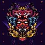 Dekorative die Teufel-Hauptgeometrie ist eine Illustration des Kopfes eines Teufels mit scharfen Reißzähnen und Flügeln stockbild