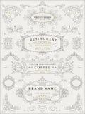 Dekorative dünne Retro- Elemente, viktorianischer Rahmen, Teiler, Grenze, Weinlesevektor Stockfotos