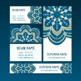 Dekorative Elemente der Weinlese Visitenkarten und Fahnen Lizenzfreie Stockfotografie