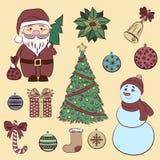 Dekorative Elemente gesetztes Weinlese des Vektors Weihnachts- und des neuen Jahres Stockfotografie