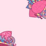 Dekorative Elementecken, Schablonenwellendesign für Einladungskarte Stockbild