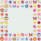 Dekorative Gestaltungselemente der netten Schmetterlingskäferbienen-Blumen Lizenzfreies Stockfoto